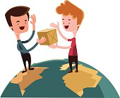 Exchanging gifts over the world vector illustration cartoon character