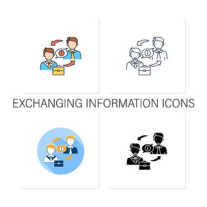 Exchanging information icons set