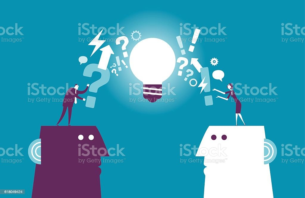 Exchanging question and idea vector art illustration