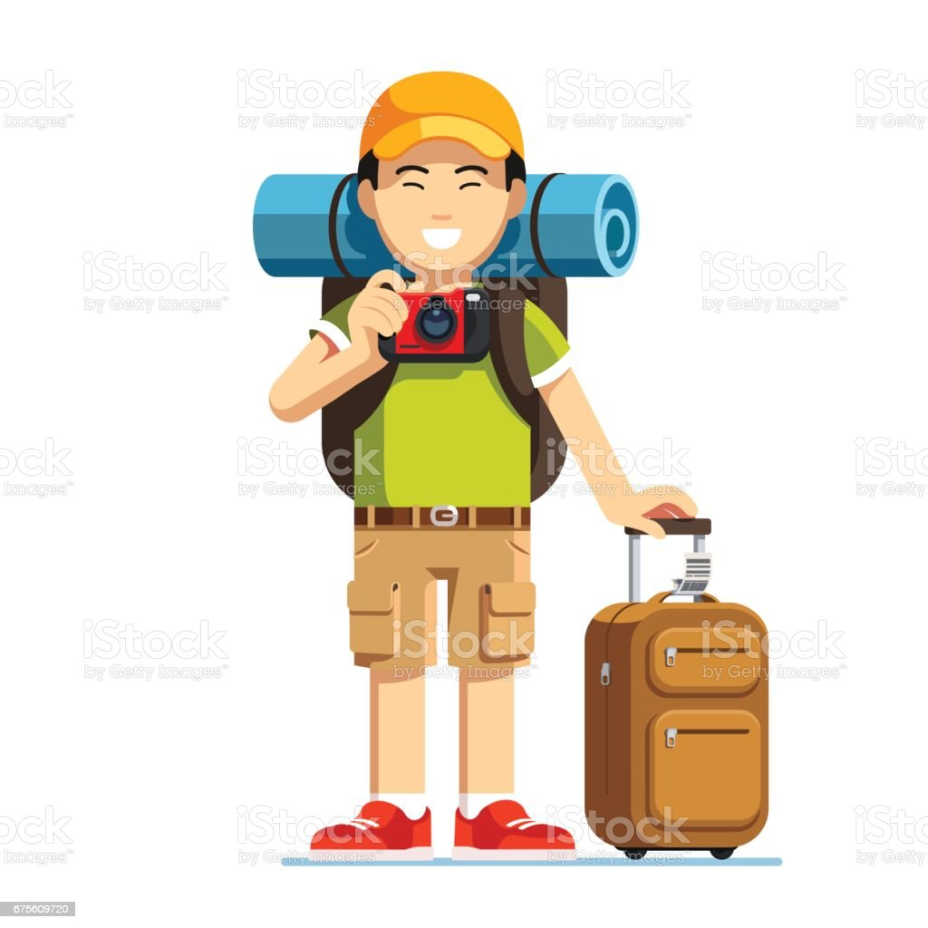 Excited Asian tourist man standing with luggage excited asian tourist man standing with luggage - arte vetorial de stock e mais imagens de acampar royalty-free