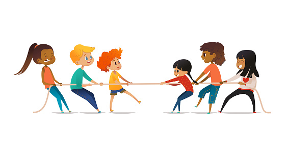 Excited boys and girls pulling rope. Tug of war competition between two children teams. Concept of sports activity for kids. Funny cartoon characters isolated on white background. Vector illustration.