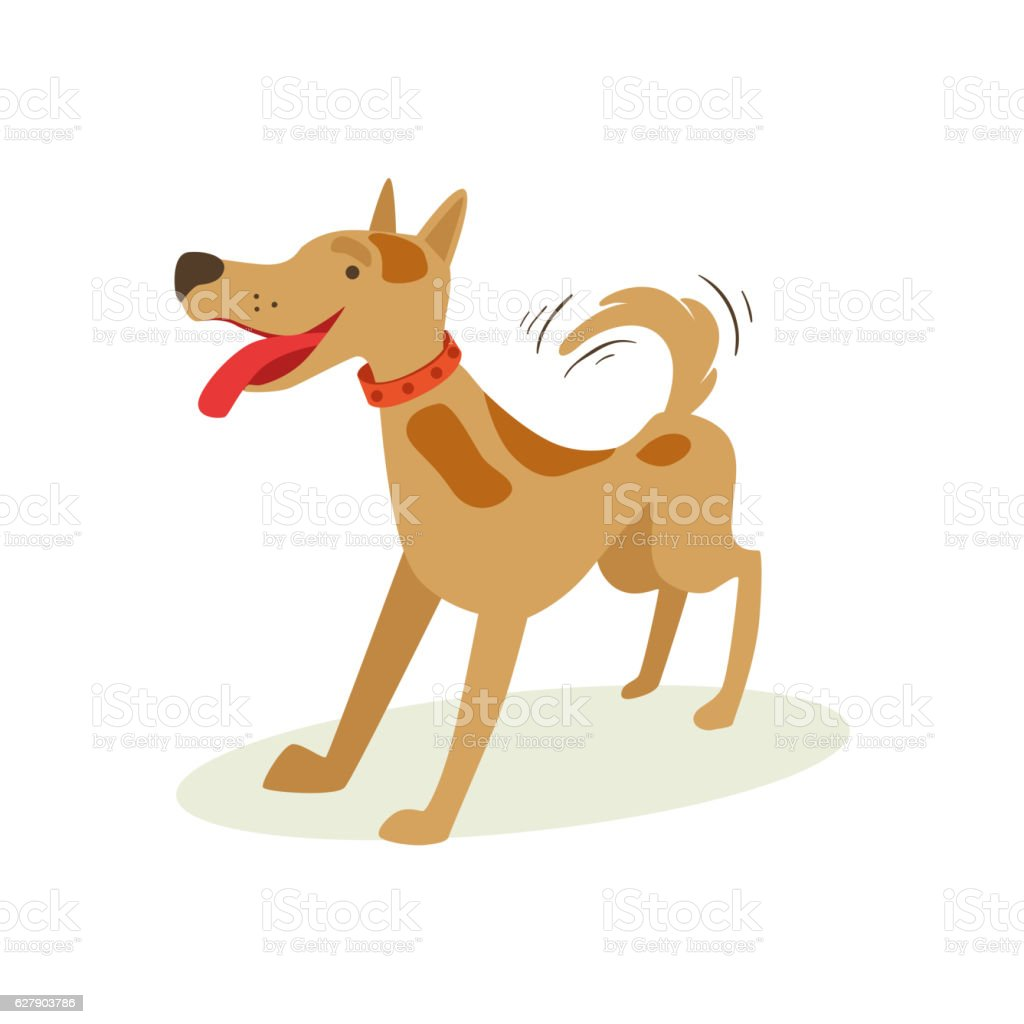 Excited Brown Pet Dog Wants To Play, Animal Emotion Cartoon vector art illustration