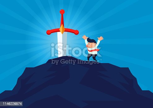 Excited businessman found Sword in the Stone