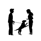 excited dog jumping on people, obedience pet training silhouette graphic scene