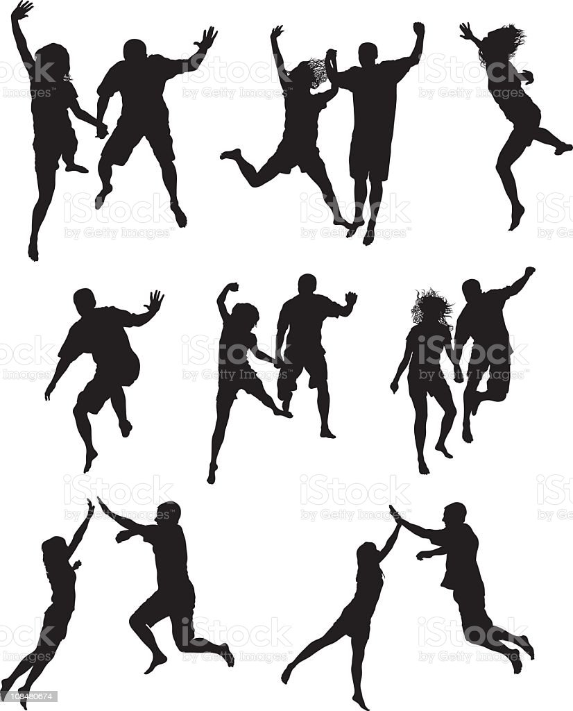 Excited Jumping royalty-free stock vector art