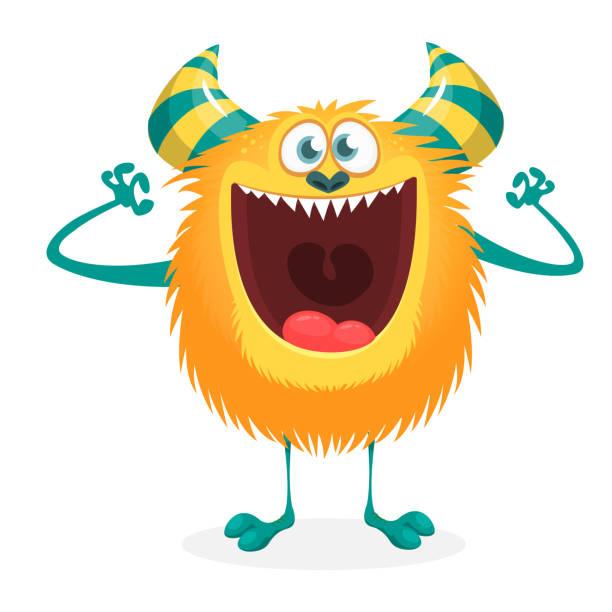 Aufgeregt orange Monster. Cartoon-illustration – Vektorgrafik
