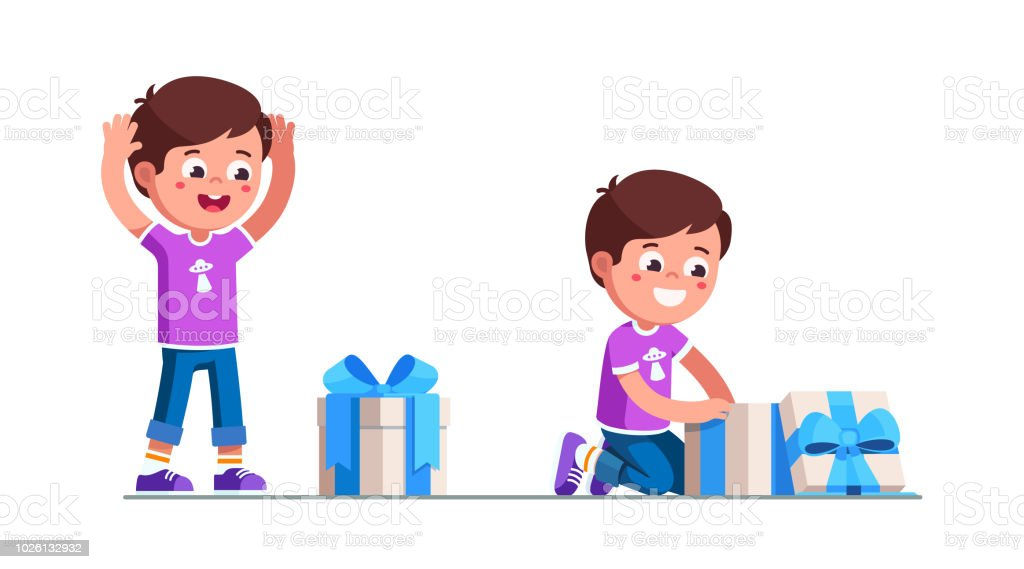Excited Preschool Boy Kid Finding And Unpacking Birthday Gift Box With Ribbon Bow Happy Childhood Holiday Child Cartoon Characters Flat Vector Clipart