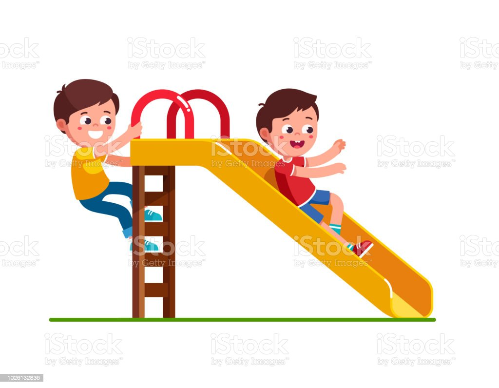 Excited preschool boy kid sliding down slide and happy friend climbing up ladder. Children cartoon character flat vector clipart illustration. vector art illustration