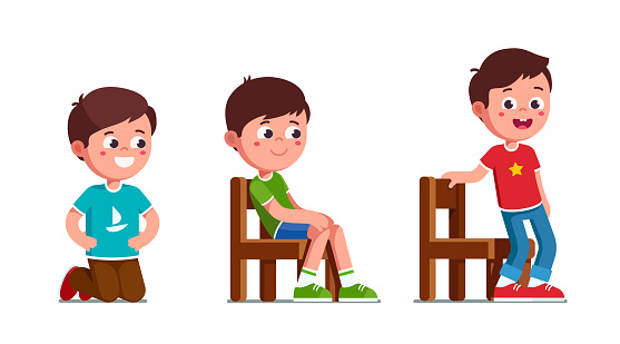 Excited preschool boys kneeling, sitting and standing up from chair. Happy child cartoon characters set. Flat vector clipart illustration.