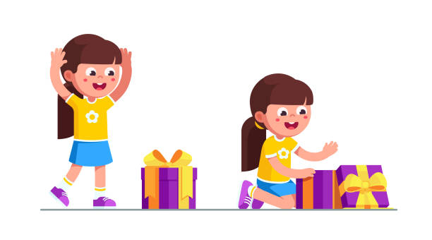 Girl Opening Present Illustrations, Royalty-Free Vector ...