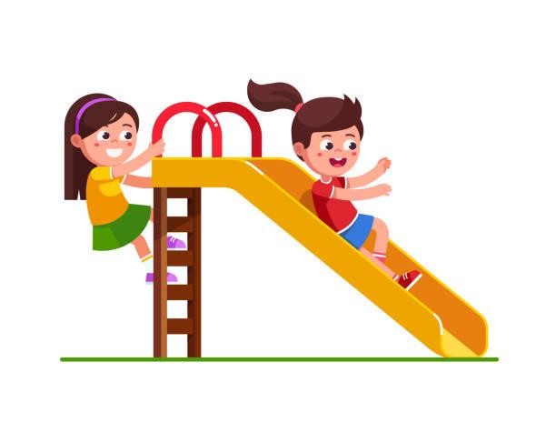 stockillustraties, clipart, cartoons en iconen met opgewonden preschool meisje kind glijdend van dia en gelukkig vriend ladder klimmen. kinderen cartoon karakter platte vector clipart illustratie. - mini amusementpark