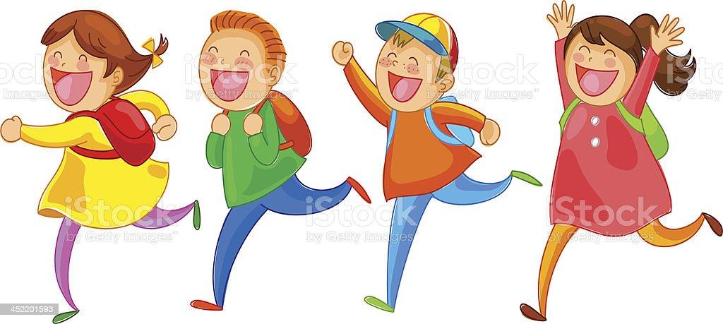 Podekscytowany dzieci szkoły - Grafika wektorowa royalty-free (Dziecko)