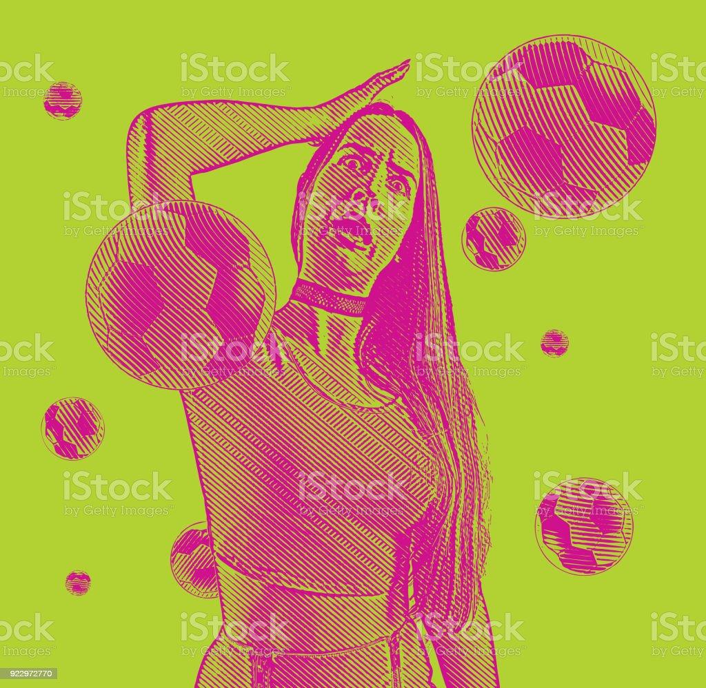 Fã de futebol animado com um chocado bolas de expressão e futebol - ilustração de arte em vetor