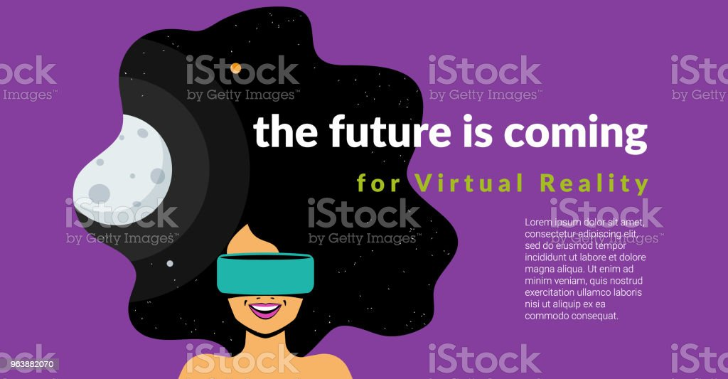 Excited woman wearing vr helmet for space simulation and digital gaming - Royalty-free Arts Culture and Entertainment stock vector
