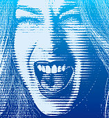 Excited woman with open mouth