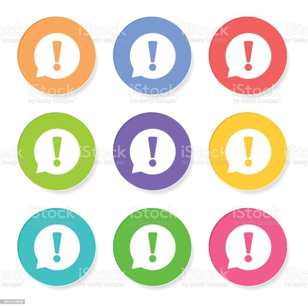 Ausrufezeichen-Symbol-Vektor-Illustration im flachen Stil isoliert auf weißem Hintergrund. Rede-Symbol für Website-Design, app, Ui. – Vektorgrafik