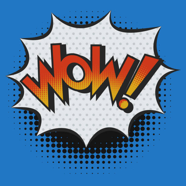 WOW! Exclamation in Pop Art Style vector art illustration