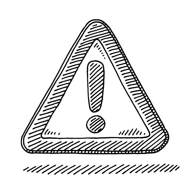 Exclamation Mark Attention Sign Drawing Hand-drawn vector drawing of a Exclamation Mark Attention Sign. Black-and-White sketch on a transparent background (.eps-file). Included files are EPS (v10) and Hi-Res JPG. transportation stock illustrations