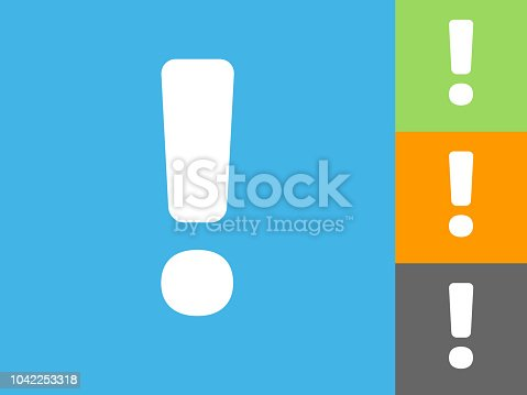 Exclamation Mark Flat Icon on Blue Background. The icon is depicted on Blue Background. There are three more background color variations included in this file. The icon is rendered in white color and the background is blue.
