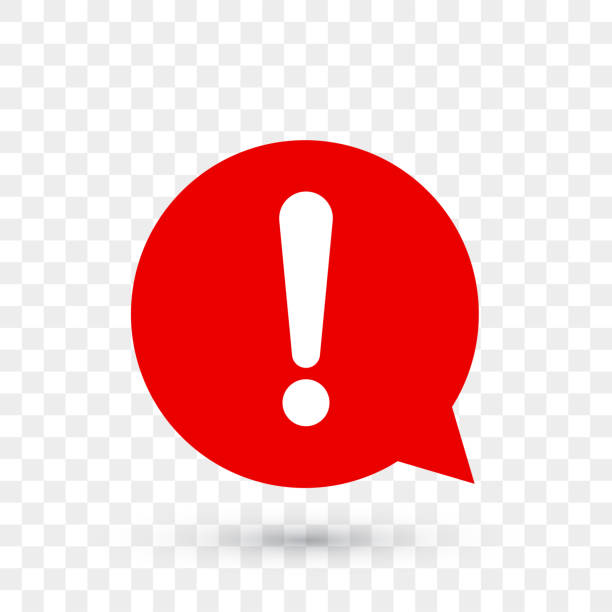 Exclamation mark for warning or attention vector icon in red chat bubble with shadow on transparent background Exclamation mark for warning or attention vector icon in red chat bubble with shadow on transparent background alertness stock illustrations