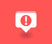 Exclamation mark icon, vector symbol in flat style isolated on red background. Social media illustration.
