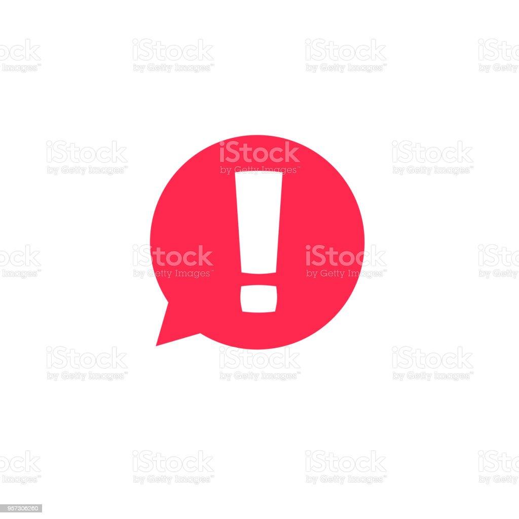 Ausrufezeichen in Blase Rede Vektor Icon, Konzept os Aufmerksamkeit oder Warnzeichen, Gefahr oder Vorsicht Warnmeldung, Gefahr Informationen oder Risiko Info Symbol clipart – Vektorgrafik