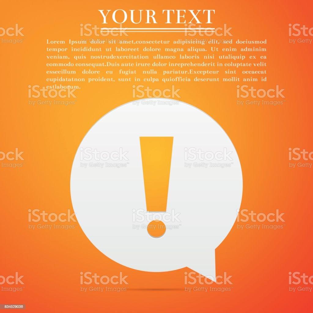 Exclamation mark in circle. Hazard warning symbol flat icon on orange background. Vector Illustration vector art illustration