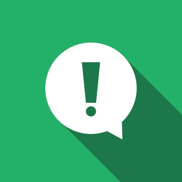Exclamation mark in circle. Hazard warning symbol flat icon with long shadow. Vector Illustration vector art illustration