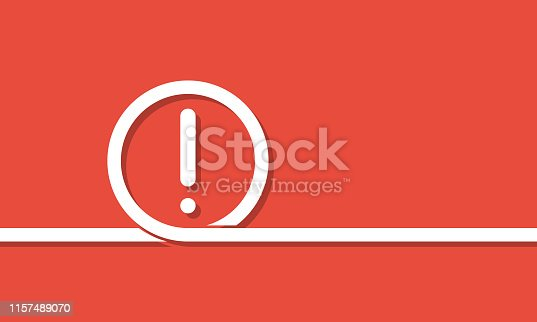 istock exclamation mark in white loop over red background, vector illustration 1157489070
