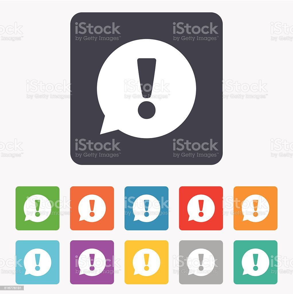 Exclamation mark sign icon. Attention symbol. vector art illustration