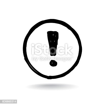 istock Exclamation mark. Sign isolated over white background 826865314