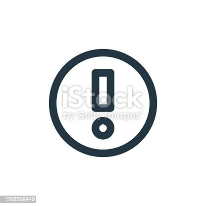 istock exclamation mark vector icon isolated on white background. Outline, thin line exclamation mark icon for website design and mobile, app development. Thin line exclamation mark outline icon vector . 1268596449