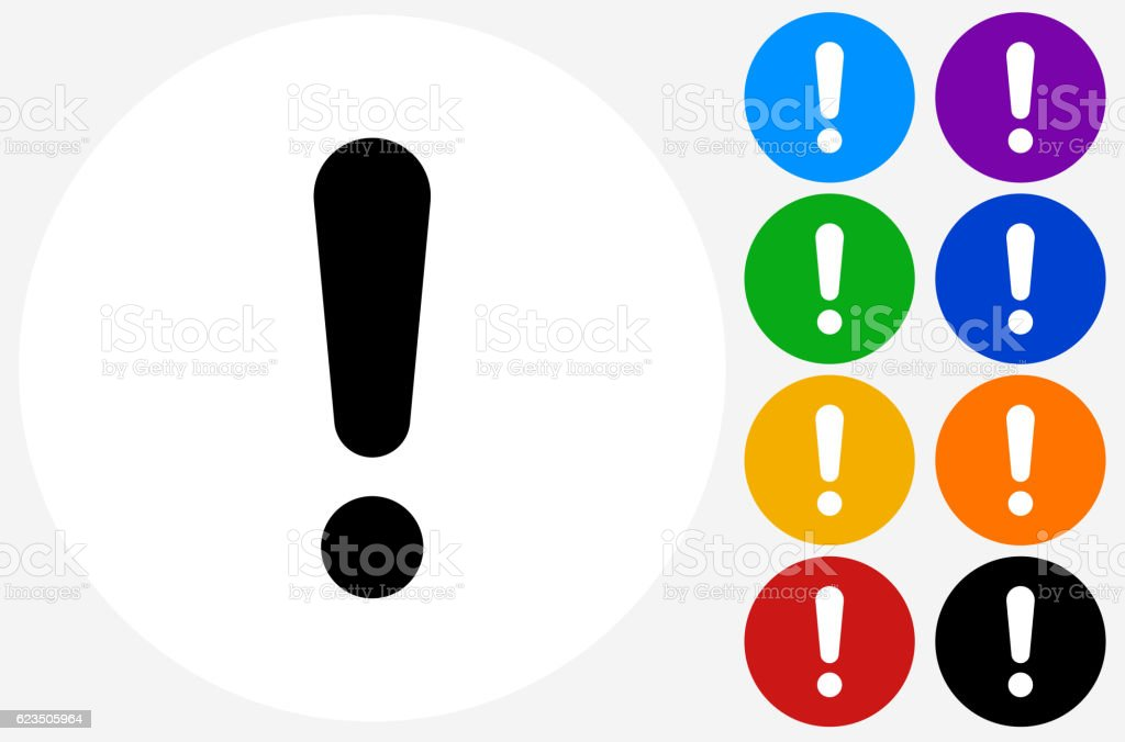 Exclamation Point Icon on Flat Color Circle Buttons royalty-free exclamation point icon on flat color circle buttons stock vector art & more images of blue