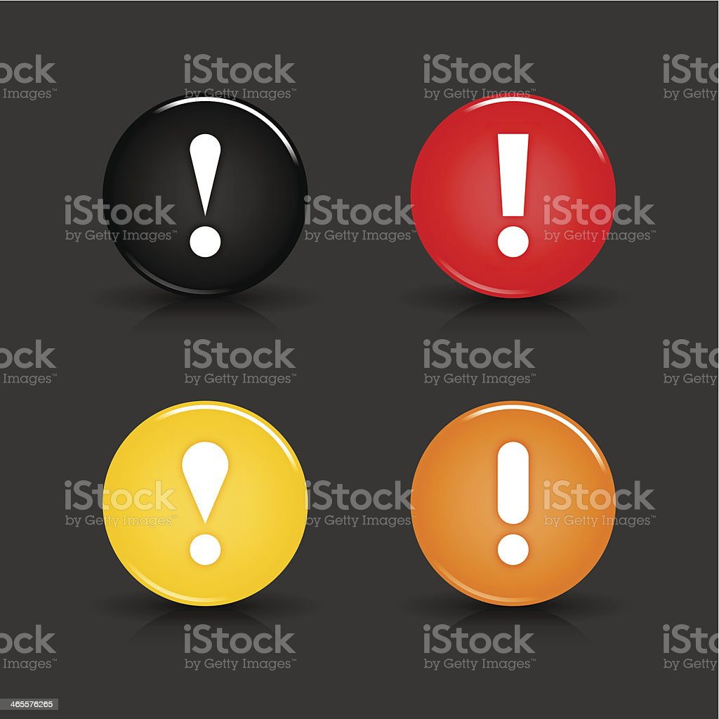 Exclamation point sign circle icon black red yellow orange button royalty-free exclamation point sign circle icon black red yellow orange button stock vector art & more images of alertness