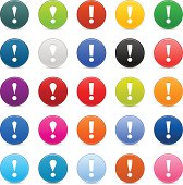 25 colore satin icon with white pictogram exclamation point sign. Green, brown, yellow, blue, gray, black, red, violet, orange, blue, pink, purple colors web internet button with shadow and reflection on white background.