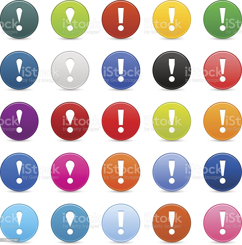Exclamation point sign circle icon web internet button reflection shadow vector art illustration