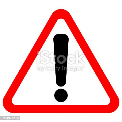 istock Exclamation point sign in red triangle. Vector icon 894875516