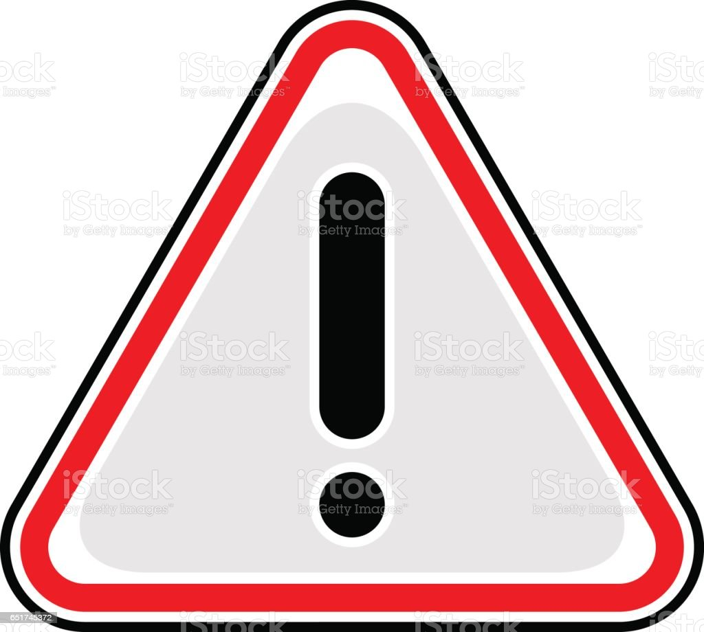 exclamation point warning icon attention hazard sign stock vector