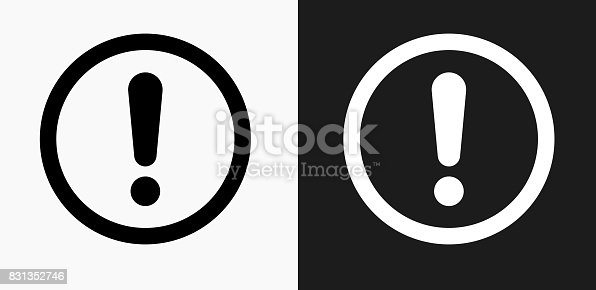 Exclamation Sign Icon on Black and White Vector Backgrounds. This vector illustration includes two variations of the icon one in black on a light background on the left and another version in white on a dark background positioned on the right. The vector icon is simple yet elegant and can be used in a variety of ways including website or mobile application icon. This royalty free image is 100% vector based and all design elements can be scaled to any size.