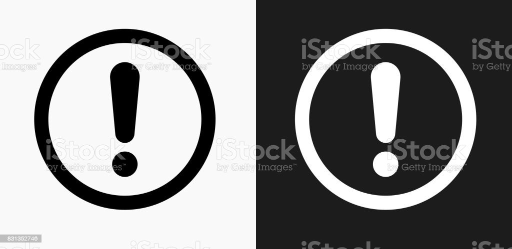 Exclamation Sign Icon on Black and White Vector Backgrounds vector art illustration