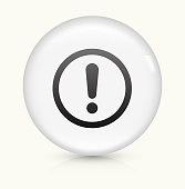 Exclamation Sign Icon on simple white round button. This 100% royalty free vector button is circular in shape and the icon is the primary subject of the composition. There is a slight reflection visible at the bottom.
