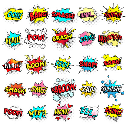 Exclamation texting comic signs on speech bubbles. Cartoon crash, pow, bomb, wham, oops and cool comic sign vector set