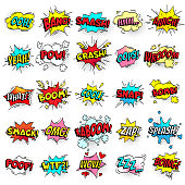 Exclamation texting comic signs on speech bubbles. Cartoon crash, pow, bomb, wham, oops and cool comic sign set. Funny comics words vector collection