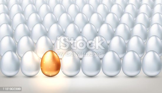 Exclusive golden egg in a crowd of ordinary white eggs, the concept of creativity, exclusivity, success. Bright individuality, unique successful person. Vector illustration