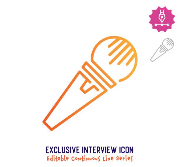 illustrations, cliparts, dessins animés et icônes de interview exclusive ligne continue ligne ligne trait modifié ligne - interview