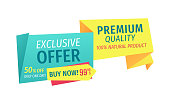 Exclusive offer only one day but now. Hundred percent natural product assurance of selling shop. Premium quality of goods sold isolated on vector