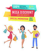Exclusive product mega discount buy now promotion only one day. Smiling shopping clients with bags and presents wrapped in decorative paper vector