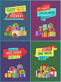 Exclusive product discount set with ribbons. Best choice limited time only one week sales. Gifts and presents with abstract patterns vector, wrapped boxes