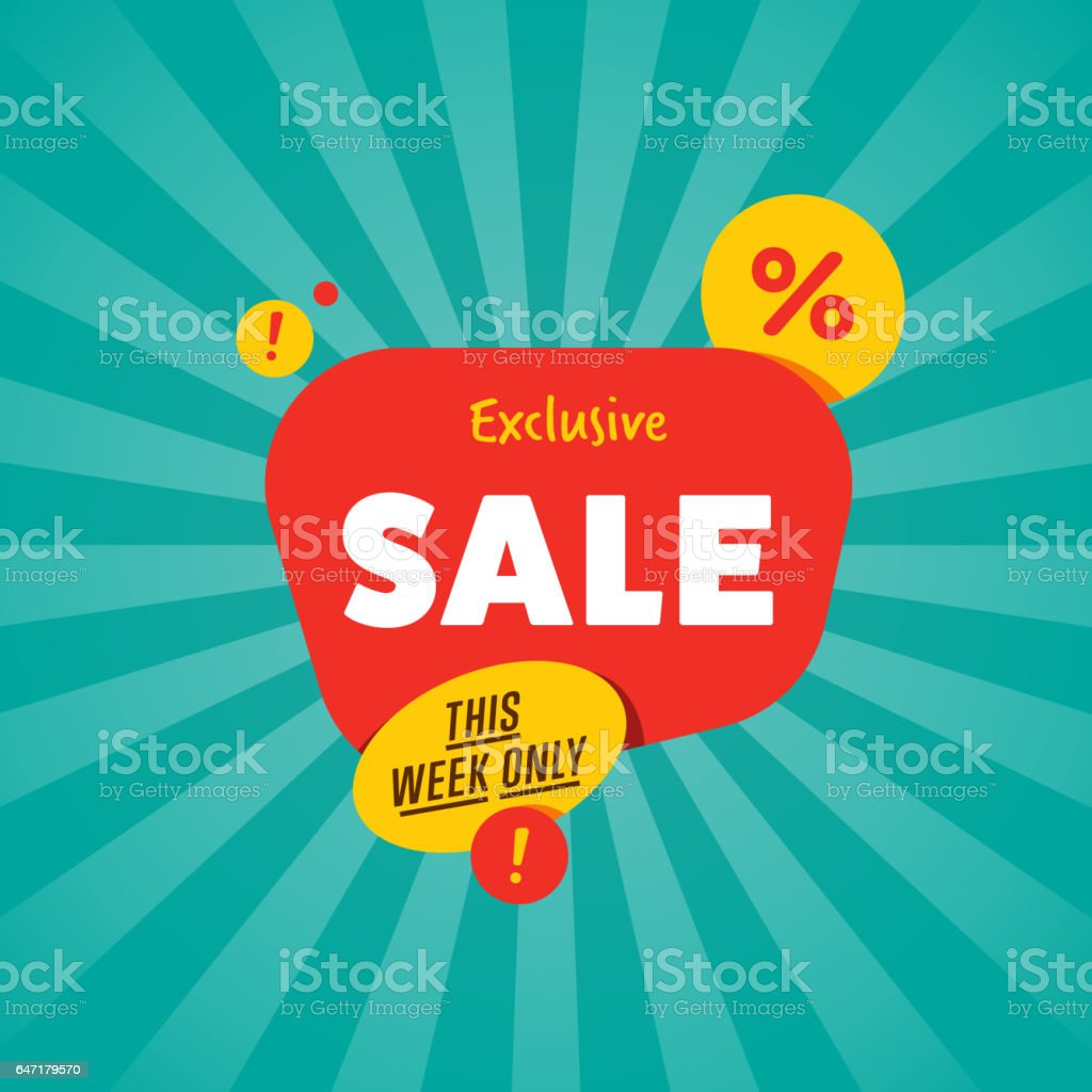Exclusive sale isolated discount sticker vector art illustration
