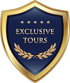 Exclusive tours luxury emblem with five gold stars.